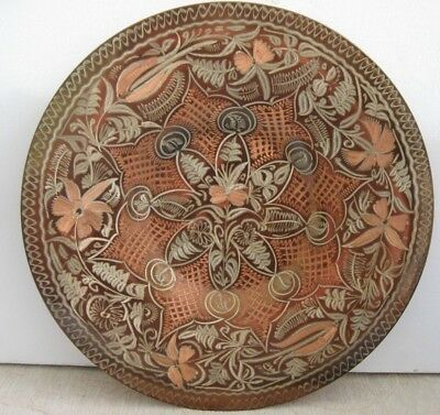 Collectable hand made DECORATIVE COPPER Display PLATE Erzincanlilar TURKEY