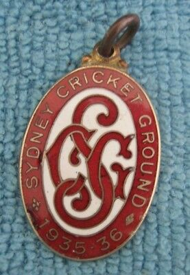 vintage SYDNEY CRICKET GROUND 1935 - 1936 Enamel MEMBERSHIP BADGE