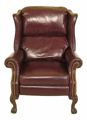 F46783EC: Burgundy Leather Ball & Claw Foot Chippendale Recliner Wing Chair