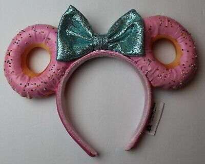 Disney Parks Pink Minnie Mouse Sprinkle Donut Ears Headband Glitter Bow NEW