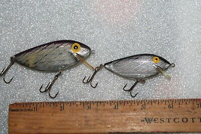 Vintage Lot of 2 Rebel Crankbaits, Thinfin Style, Purple & Black Back, Silver