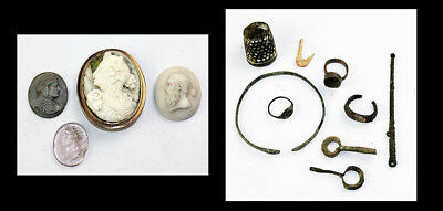 *sc*large Lot Of Roman Bronze Antiquites & Antique Cameo W Gold!