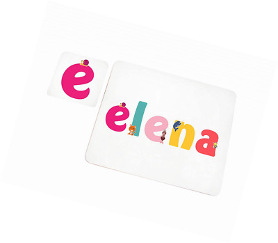 Little Helper Doily with Colourful Coaster Style Example Girl's Name Elena