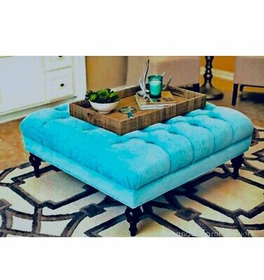 Hampton Teal large Chesterfield Style deep Buttoned Footstool/Coffee Table !!!
