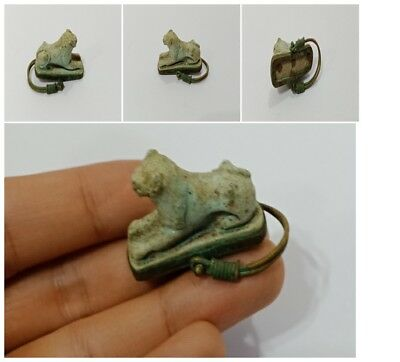 Very rare royal Ring Sekhmet Egyptian Antique Amulet Faience Lion protection art