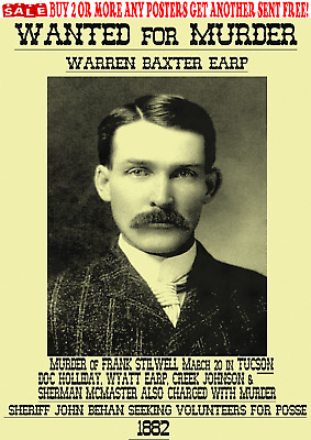 Old West Wanted Poster Morgan Earp Outlaw Western Ringo Ok Corral Reward