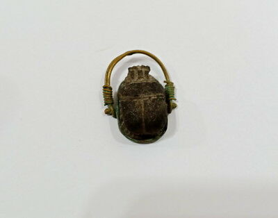 Very Rare Ring Ancient Egyptian Scarab Egypt Antique Faience Stone Copper Amarna