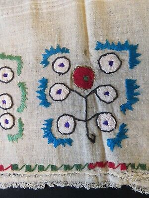 Antique Turkish Towel Linen Hand Embroidered Ecru Table Runner Embroidery