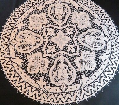 Antique Lace Table Cloth White Round Handmade Cover Topper Needle Figural