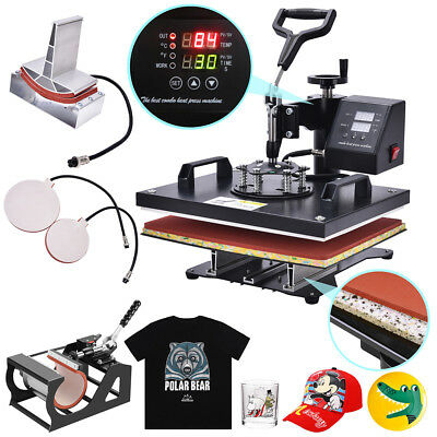 5 in 1 Heat Press Machine Swing Away Digital Sublimation T-shirt Mug Plate Caps