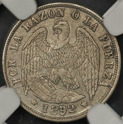 1892/82/7-So NGC AU53 CHILE 1/2 DECIMO KM-137.3 RARE VARIETY MAJOR OVERDATE