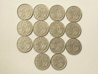 1922 to 1936 Canada 5 Cents Lot of 14 Coins Missing 1925 #2752