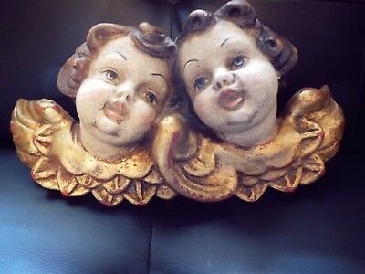 "Hand Carved 12 "" German Wooden Cherub Angels Vintage"
