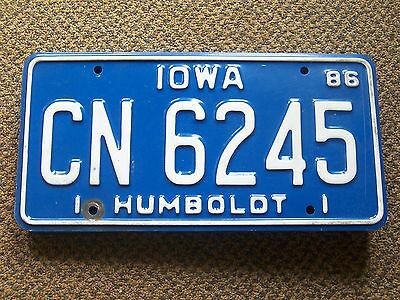 CN 6245 = 1986 Humboldt County Iowa license plate   Yes, I Combine Shipping