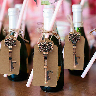 50x Skeleton Key Bottle Opener + Tags Card Guest Souvenirs Gifts Wedding Favors