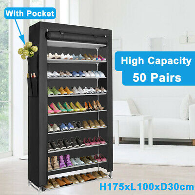 10 Tier 50 Pairs Shoes Rack Organizer Storage Stackable Shoe Cabinet Shelf Stand