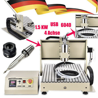 USB 1500W VFD 4 Axis 6040 router engraver milling machine engraving Drill Cutter