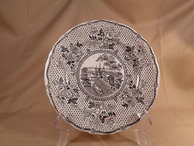 Antique Staffordshire dinner plate, brown transferware, Erie Canal at Buffalo