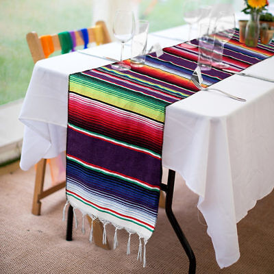 Mexican Serape Table Runner Cotton Fringe Tablecloth Fiesta Party Dinner Decor