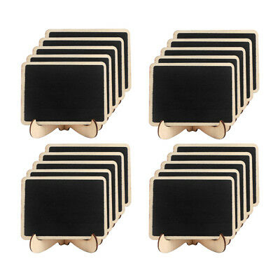 50× Mini Wooden Blackboard Chalkboard with Stand Message Notice Sign Table Board