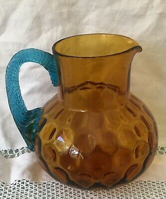 Stunning Reverse Thumbprint Amber Glass Victorian Pitcher with Turquoise Handle
