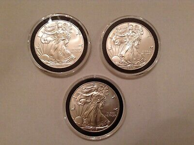 Three (3) 1Oz 2017 Silver American Eagles- Brilliant Uncirculated In Airtites!