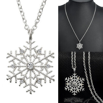 Charm Silver Frozen Snowflake Crystal Necklace Pendant Jewelry Decoration Gift