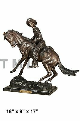 "100% Bronze Statue Lg 17""H Remington Bronze cowboy w/Horse Sculpture The Cowboy"