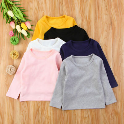 Toddler Boy Girl Cotton Warm Top Solid Long Sleeve T-Shirt Soft Clothing Outfits