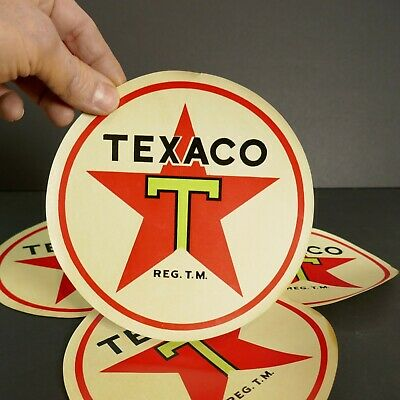 RARE 1950`s TEXACO ROUND PAPER SIGN VINTAGE OLD ANTIQUE ORIGINAL New old stock