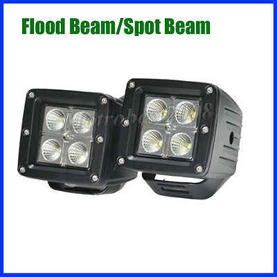 2X 3 inch LED Work Light Square Flood Cube Pods Offroad Jeep Fog Truck SUV ATV