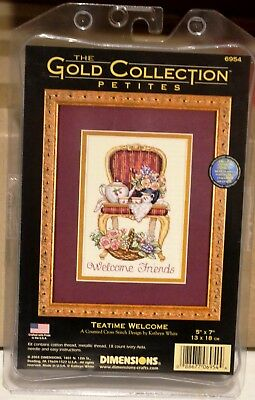 """DIMENSIONS Gold Collection Petites Cross Stitch Kit 'Tea Time Welcome' 5"""" x 7"""""""