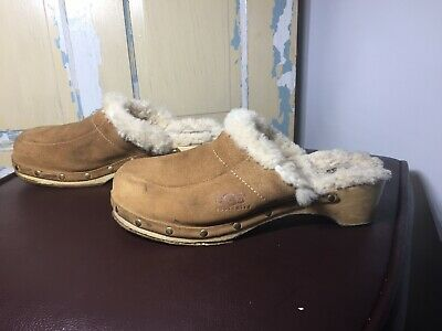 6856e5a4ba1 WOMENS UGG AUSTRALIA Kalie Clog Tan Wood Leather/Sheepskin Winter ...
