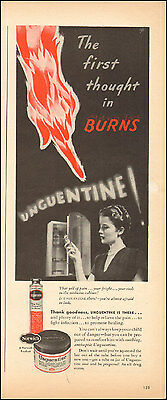 1945 Vintage ad for Unguentine`first-aid retro art red hand (102815)