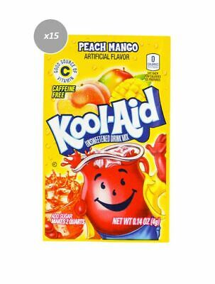 909278 15 x 4g PACKETS KOOL AID UNSWEETENED DRINK MIX PEACH MANGO FLAVOUR
