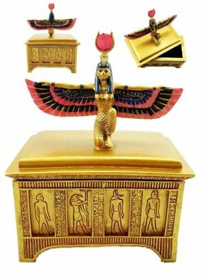 Ancient Egyptian Religion Goddess Isis Open Wings Jewelry Box Sculpture Decor