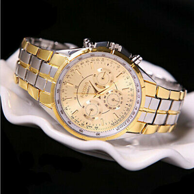 Men's Fashion Luxury Date Gold Dial Stainless Steel Analog Quartz Wrist Watch