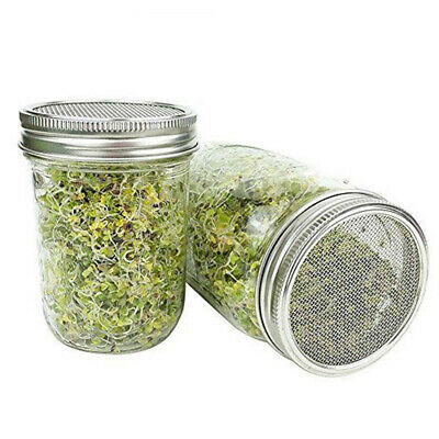 Organic Seeds Sprouting Jar Lid Kit fit Wide Mouth Mason Jars Stainless Steel