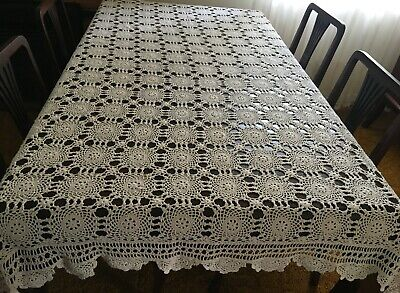CROCHET  Beige, Rectangular Tablecloth 215 x 150cm  - Lovely Con