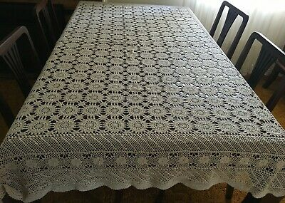 CROCHET  Beige, Rectangular Tablecloth 200 x 155cm  - Lovely Con