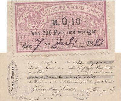 Revenue stamp Germany Berlin 1883 to Thorn Poland Bill of Exchange Wechsel