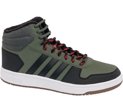 MENS ADIDAS HOOPS Mid Nubuck Hi Top Shoes Grey White Lace Up