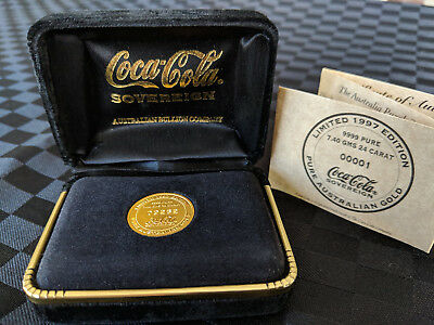 Coca Cola Gold Sovereign - LIMITED EDITION - 7.4 GRAMS 9999 PURE AUSTRALIAN GOLD