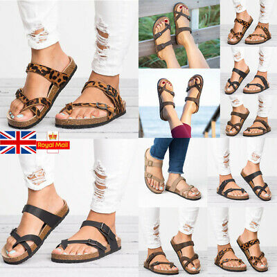Women Footbed Slide Buckle Sandals Flip Flop Summer Beach Gladiator Casual Shoes