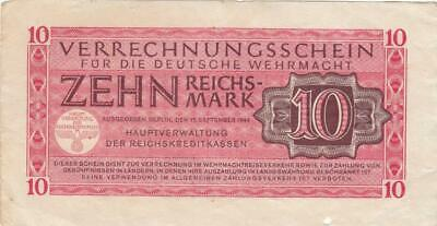 WW2 Old German Nazi Era Germany Reichsmark Banknote 10 Mark - 1944