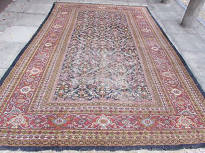 Antique Traditional Persian Wool Blue Oriental Hand Made Big Carpet 361x240cm