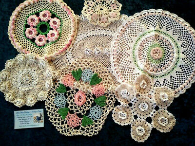 Bulk Mixed Coloured/Rose Hand Crochet Centre/Doilies Ex Con Use or craft? Lot#1