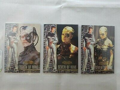 Star Trek Voyager Profiles, Seven Of Nine X3 Cards,  #1,#4,#2, 1:8,
