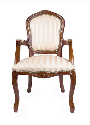 French Louis Arm Chair Mahogany Gold Stripe Shabby Chic Antique Style Bedroom