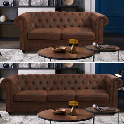 Chesterfield Leather Sofas in 3 2 Suite Seaters Brown Settee Couch Living Lounge